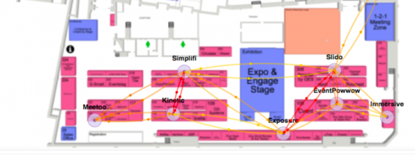 diagram showing flow routes of attendees of event tech live